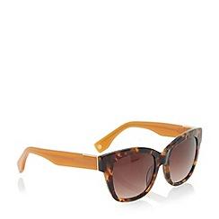 Dune - Khaki 'Graciey' tortoiseshell angular frame sunglasses