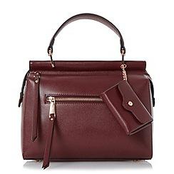 Dune - Dark red 'Damille' front zip detail top handle bag