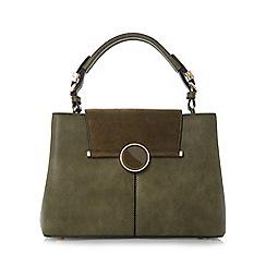 Dune - Khaki 'Dorrian' circular lock detail handbag