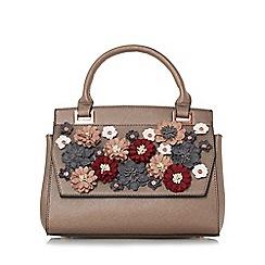 Dune - Bronze 'Daisy' floral applique embellished handbag
