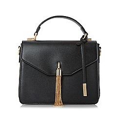 Dune - Black 'Delina' metal tassel flap over handbag