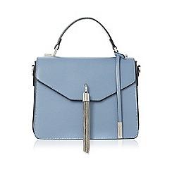 Dune - Blue 'Delina' metal tassel flap over handbag