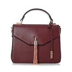 Dune - Dark red 'Delina' metal tassel flap over handbag