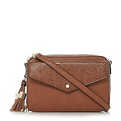 Dune - Tan 'Dottie' cross body envelope front bag