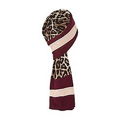 Dune - Dark red 'Lordie' leopard print coloured border scarf