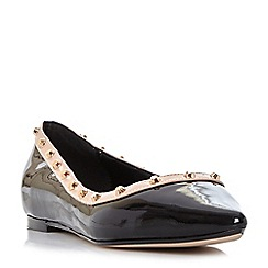 Dune - Black 'Halogen' studded pointed toe flat shoe