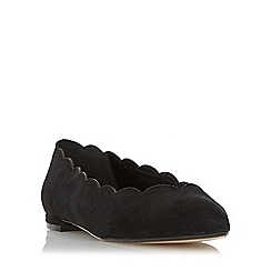 Dune - Black 'Halen' scallop trim pointed toe flat shoe