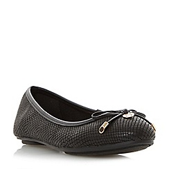 Dune - Black 'Hype' bow and coin trim unlined ballerina shoes