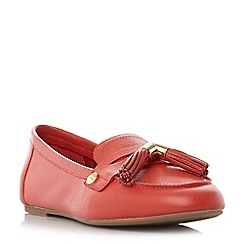 Dune - Dark peach 'Gig' unlined tassel trim loafers