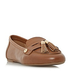 Dune - Tan 'Gondola' tassel trim loafer shoes