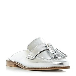 Dune - Silver 'Geen' backless flat loafer shoes