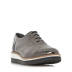 Dune - Silver 'Furley' lace up flatform shoe
