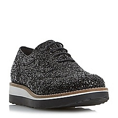 Dune - Black 'Fleek' glitter flatform shoe