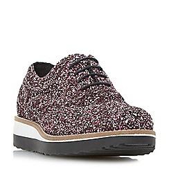 Dune - Pink 'Fleek' glitter flatform shoe
