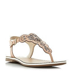 Dune - Natural 'Lill' laser cut toe post flat sandals