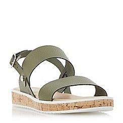 Dune - Khaki 'Logo' cork sole flatform sandals