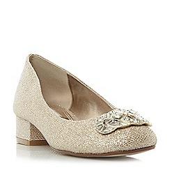 Dune - Gold 'Beebie' jewel trim block heel court shoes