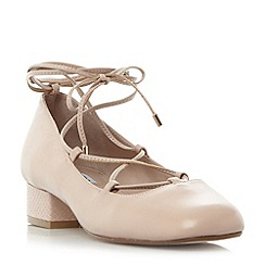 Dune - Light pink 'Ballay' ghillie lace block heel court shoes