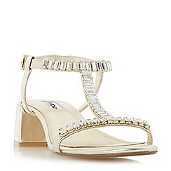 Dune - Gold 'Malie' jewelled t-bar block heel sandals