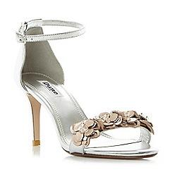 Dune - Silver 'Magnolea' flower trim mid heel sandals