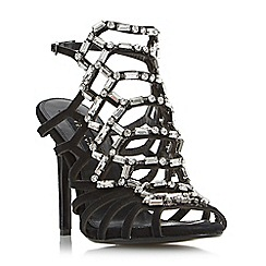 Dune - Black 'Moonstone' black sand embellished caged high heel sandals