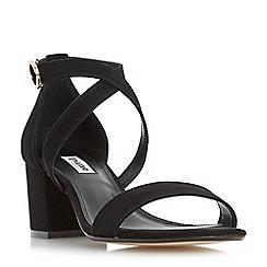 Dune - Black 'Montie' cross strap block heel sandals