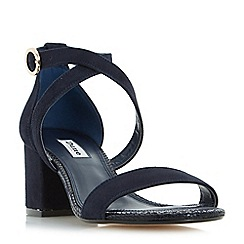 Dune - Navy 'Montie' cross strap block heel sandals