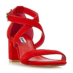 Dune - Red 'Montie' cross strap block heel sandals