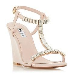 Dune - Light pink 'Maitai' jewelled t-bar wedge sandals