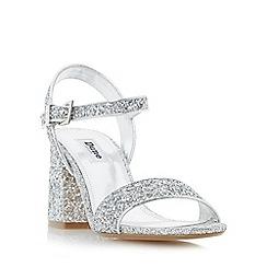 Dune - Silver 'Mylow' two part block heel sandals