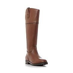 Dune - Dark tan 'Timi' side tab leather riding boot