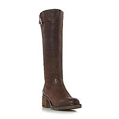 Dune - Brown 'Tedmund' buckle detail knee high boot