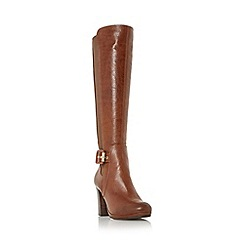 Dune - Tan 'Scout' buckle detail knee high boot