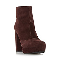 Dune - Dark red 'Oklahoma' platform block heel ankle boot