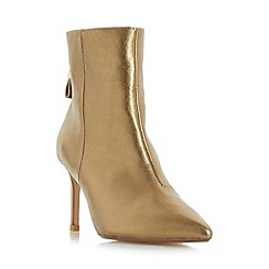 Dune - Gold 'Oralia' pointed toe mid heel ankle boot
