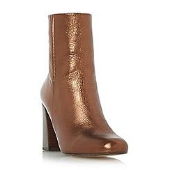 Dune - Bronze 'Osmond' flared heel ankle boot