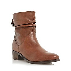 Dune - Tan 'Pager' ruched leather block heel ankle boot