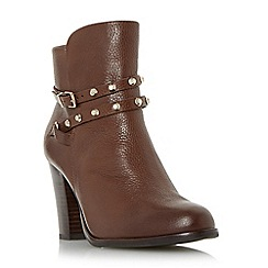 Dune - Tan 'Padro' studded block heel ankle boot