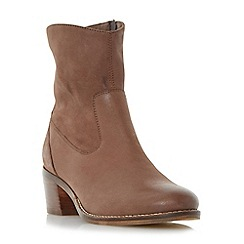 Dune - Tan 'Pocket' causal block heel ankle boot