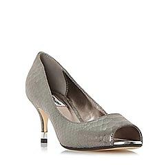 Dune - Silver 'Debbi' peep toe mid heel court shoe