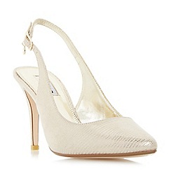 Dune - Gold 'Cathy' slingback mid heel court shoes