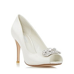 Dune - Ivory 'Dolley' jewel trim peep toe court shoe
