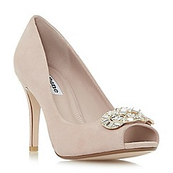 Dune - Light pink 'Dolley' jewel trim peep toe court shoes