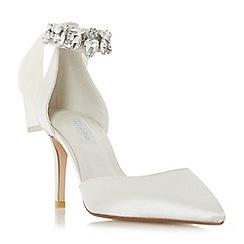 Dune - Ivory 'Diamond' jewel ankle strap court shoe
