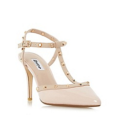 Dune - Natural 'Catelyn' studded t-bar open back court shoes