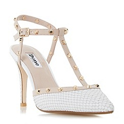 Dune - White 'Catelyn' studded t-bar open back court shoes