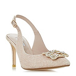 Dune - Light pink 'Daphnie' jewelled square brooch slingback court shoes