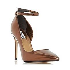 Dune - Bronze 'Clementine' semi d'orsay ankle strap court shoe