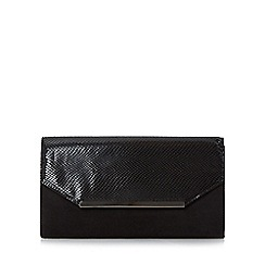 Head Over Heels by Dune - Black 'Beebi' mixed material flap over clutch bag