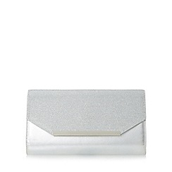Head Over Heels by Dune - Silver 'Beebi' mixed material flap over clutch bag